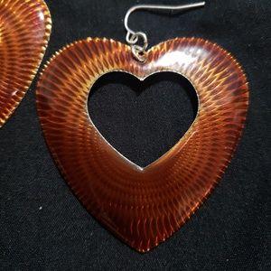 Tiger Eye Colored Heart Earrings